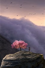 Preview iPhone wallpaper Big statue, people, flowers tree, clouds, birds, art picture