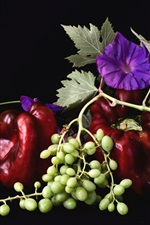 Preview iPhone wallpaper Bindweed, green grapes, red pepper