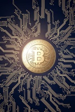 Preview iPhone wallpaper Bitcoin, money, PCB, creative design