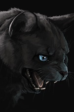 Preview iPhone wallpaper Black cat, mouth, teeth, art painting