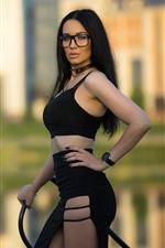 Preview iPhone wallpaper Black hair girl, glasses, pose