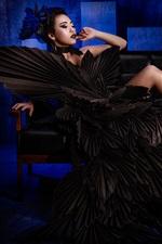 iPhone fondos de pantalla Falda negra Chica asiática, fotografía artística