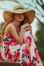 Preview iPhone wallpaper Blonde girl, hat, skirt, summer