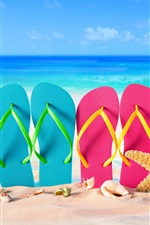 Preview iPhone wallpaper Blue and pink slippers, starfish, seashell, sea, beach
