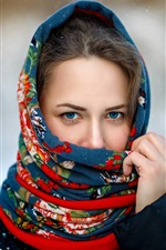 Preview iPhone wallpaper Blue eyes girl, scarf, snowy, winter