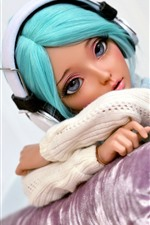 Preview iPhone wallpaper Blue hair girl, doll, headphones