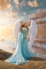 Preview iPhone wallpaper Blue skirt girl, angel, wings, crown, beach