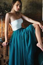 Blue skirt girl, room, pose, lamp