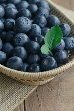 Preview iPhone wallpaper Blueberries, basket, table