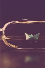 Preview iPhone wallpaper Bottle, paper boat, water