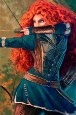 Preview iPhone wallpaper Brave, princess, red hair, bow, Disney cartoon movie