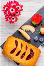 Breakfast, milk, bread, coffee, flowers, strawberry, blueberry
