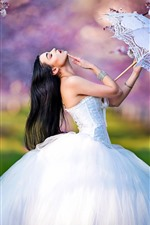 Preview iPhone wallpaper Bride, wedding dress, girl, umbrella, pose