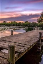 Preview iPhone wallpaper Bridge, river, sunset
