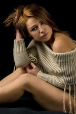 Preview iPhone wallpaper Brown hair girl, sweater, legs, pose