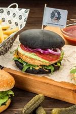Preview iPhone wallpaper Burgers, cucumbers, ketchup, potatoes, fast food