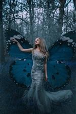 Garota de elfo borboleta, asas, floresta