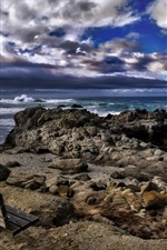 California, Asilomar Beach, sea, stones, bench, clouds, USA