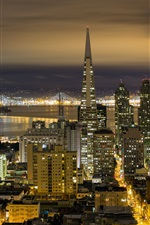 Preview iPhone wallpaper California, San Francisco, city night, buildings, lights