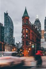 Preview iPhone wallpaper Canada, Ontario, Gooderham Building, city, street, dusk, lights