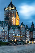 Preview iPhone wallpaper Canada, Quebec, city night, buildings, street, lights