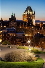 Canada, Quebec, city, night, road, lights
