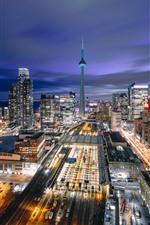 Canadá, toronto, cidade, noturna, estradas, arranha-céus, luzes