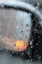 Preview iPhone wallpaper Car rear view mirror, rain, water droplets