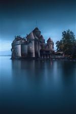 Castle, lake, dusk