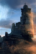Preview iPhone wallpaper Castle, ship, space, planet, sci-fi, art picture