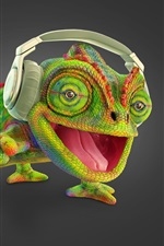 Preview iPhone wallpaper Chameleon listen music, headphone, creative picture