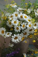 Preview iPhone wallpaper Chamomile, flowers, bouquet, vase