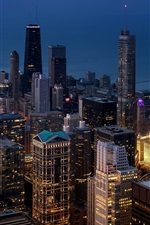 Preview iPhone wallpaper Chicago, megapolis, city, skyscrapers, lights, night, USA