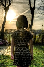 Child girl, rear view, trees, sunset
