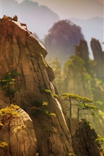 Preview iPhone wallpaper China, beautiful nature landscape, pine, mountains, cliff