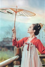 Preview iPhone wallpaper Chinese ancient costume girl, umbrella