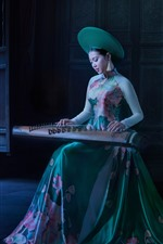 Preview iPhone wallpaper Chinese girl play Guzheng, retro style