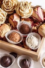 미리보기 iPhone 배경 화면 초콜릿 사탕, 마른 장미, 정물
