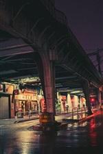 Preview iPhone wallpaper City night, Tokyo, Japan, street, rail bridge, lights