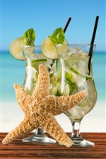 Preview iPhone wallpaper Cocktail, mojito, limes, starfish