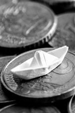 iPhone fondos de pantalla Monedas, barco de papel, imagen en blanco y negro