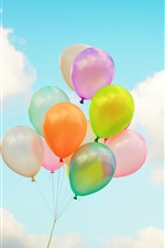 Colorful balloons, sky, clouds