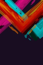 Preview iPhone wallpaper Colorful paint angles, black background, abstract