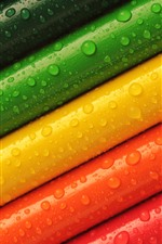 Preview iPhone wallpaper Colorful pencils, water droplets