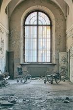 Preview iPhone wallpaper Corridor, chairs, window, doors, ruins