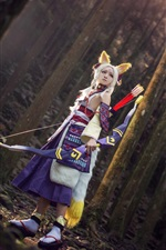 Preview iPhone wallpaper Cosplay fox elf girl, ears, bow, forest