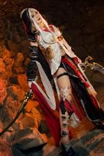 iPhone fondos de pantalla Chica cosplay, pelo blanco, espada