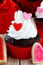 Preview iPhone wallpaper Cupcakes, cream, love heart, gifts
