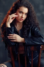 Preview iPhone wallpaper Curls girl, leather coat, chair