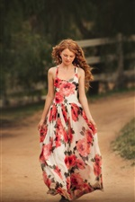 Preview iPhone wallpaper Curly hair girl, walk, road, skirt, summer